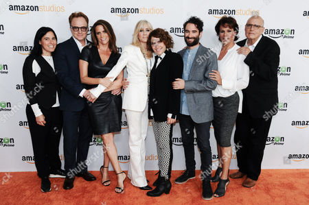"Executive Producer Andrea Sperling, from left, actors Bradley Whitford, Amy Landecker, Judith Light, Director/Writer/Executive Producer Jill Soloway, Jay Duplass, Alexandra Billings and Jeffrey Tambor attend the ""Transparent"" photo call at the Amazon Summer TCA Tour held at the Beverly Hilton Hotel, in Beverly Hills, Calif"