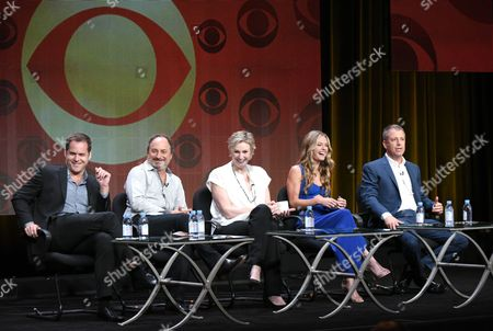 "From left, Kyle Bornheimer, Kevin Pollak, Jane Lynch, Maggie Lawson and Creator/Executive Producer Tad Quill participate in the ""Angel from Hell"" panel at the CBS Summer TCA Tour at the Beverly Hilton Hotel, in Beverly Hills, Calif"