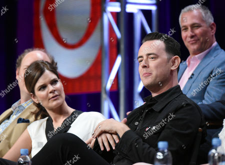 """Betsy Brandt, from left, Colin Hanks and Executive Producer, Aaron Kaplan, participate in the """"Life in Pieces"""" panel at the CBS Summer TCA Tour at the Beverly Hilton Hotel, in Beverly Hills, Calif"""