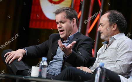 "Kyle Bornheimer, left, and Kevin Pollak participate in the ""Angel from Hell"" panel at the CBS Summer TCA Tour at the Beverly Hilton Hotel, in Beverly Hills, Calif"