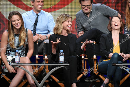 """Stock Picture of Melissa Benoist, from left, Greg Berlanti, Calisa Flockhart, Andrew Kreisberg and Chyler Leigh participate in the """"Supergirl"""" panel at the CBS Summer TCA Tour at the Beverly Hilton Hotel, in Beverly Hills, Calif"""