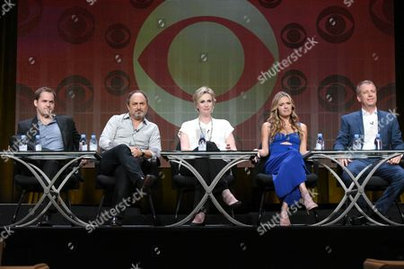 """Stock Picture of Kyle Bornheimer, from left, Kevin Pollak, Jane Lynch, Maggie Lawson and creator Tad Quill participate in the """"Angel from Hell"""" panel at the CBS Summer TCA Tour at the Beverly Hilton Hotel, in Beverly Hills, Calif"""