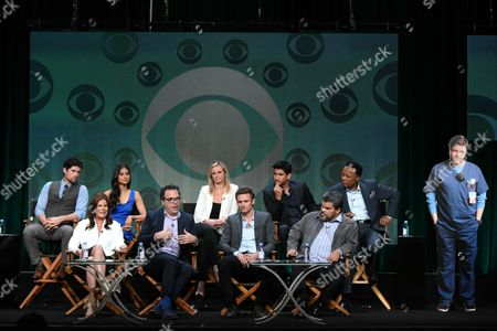 "Benjamin Hollingsworth, from top left, Melanie Chandra, Bonnie Somerville, Raza Jaffrey and William Allen Young, Marcia Gay Harden, from bottom left, Executive Producer, Michael Seitzman, Ryan McGarry and Luis Guzman participate in the ""Code Black"" panel at the CBS Summer TCA Tour at the Beverly Hilton Hotel, in Beverly Hills, Calif"