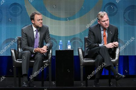 CBS News President David Rhodes, left, and John Dickerson, Political Director for CBS News, participate in the CBS News panel at the CBS Summer TCA Tour at the Beverly Hilton Hotel, in Beverly Hills, Calif