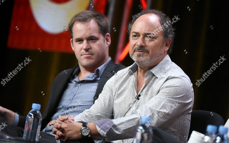 """Kyle Bornheimer, left, and Kevin Pollak participate in the """"Angel from Hell"""" panel at the CBS Summer TCA Tour at the Beverly Hilton Hotel, in Beverly Hills, Calif"""