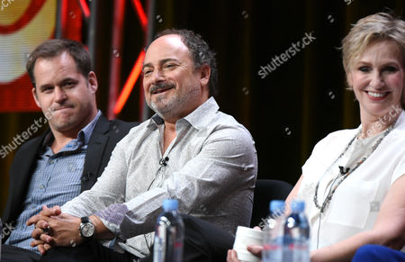 """Kyle Bornheimer, and from left, Kevin Pollak and Jane Lynch participate in the """"Angel from Hell"""" panel at the CBS Summer TCA Tour at the Beverly Hilton Hotel, in Beverly Hills, Calif"""