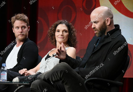 """Jake McDorman, from left, Mary Elizabeth Mastrantonio and Craig Sweeney participate in the """"Limitless"""" panel at the CBS Summer TCA Tour at the Beverly Hilton Hotel, in Beverly Hills, Calif"""