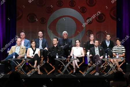 """Aaron Kaplan, from top left, Justin Adler, James Brolin, Dianne Weist, Jason Winer and Dan Bakkedahl, Betsy Brandt, Colin Hanks, Zoe Lister-Jones, Thomas Sadoski and Angelique Cabral participate in the """"Life in Pieces"""" panel at the CBS Summer TCA Tour at the Beverly Hilton Hotel, in Beverly Hills, Calif"""