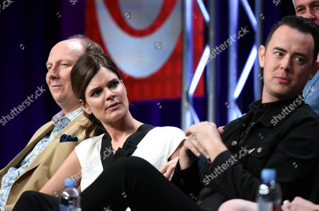 """Betsy Brandt, from left, Colin Hanks and Aaron Kaplan participate in the """"Life in Pieces"""" panel at the CBS Summer TCA Tour at the Beverly Hilton Hotel, in Beverly Hills, Calif"""