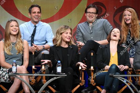 """Melissa Benoist, from left, Greg Berlanti, Calisa Flockhart, Andrew Kreisberg, Chyler Leigh and Sarah Schecter participate in the """"Supergirl"""" panel at the CBS Summer TCA Tour at the Beverly Hilton Hotel, in Beverly Hills, Calif"""