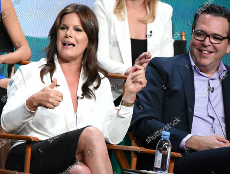 """Marcia Gay Harden, left, and Executive Producer, Michael Seitzman, participate in the """"Code Black"""" panel at the CBS Summer TCA Tour at the Beverly Hilton Hotel, in Beverly Hills, Calif"""
