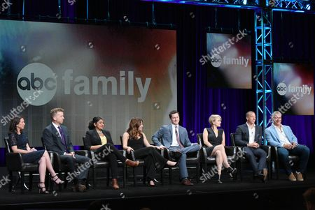 "Stock Picture of Executive producers Barbara Adler, from left, and McG, Punam Patel, Paige Spara, Noah Reid, Jordan Hinson, Matt Murray and executive producer Aaron Kaplan participate in the ""Kevin From Work"" panel at the Disney/ABC Summer TCA Tour at the Beverly Hilton Hotel, in Beverly Hills, Calif"