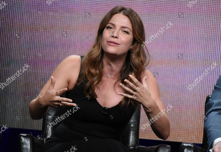 """Paige Spara participates in the """"Kevin From Work"""" panel at the Disney/ABC Summer TCA Tour at the Beverly Hilton Hotel, in Beverly Hills, Calif"""