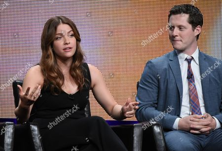 """Paige Spara, on left, Noah Reid participate in the """"Kevin From Work"""" panel at the Disney/ABC Summer TCA Tour at the Beverly Hilton Hotel, in Beverly Hills, Calif"""
