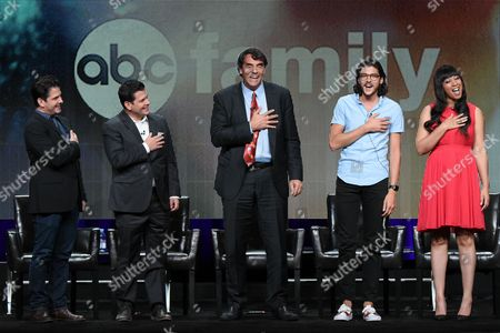 """Stock Picture of Executive producers Tim Duffy, from left, Mike Duffy, Tim Draper, cast members Charlie Taibi, and Sequoia Blodgett participate in the """"Startup Uâ?? panel at the Disney/ABC Summer TCA Tour at the Beverly Hilton Hotel on in Beverly Hills, Calif"""