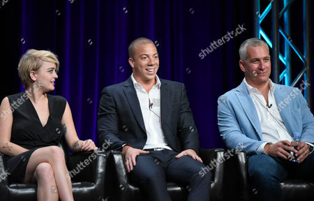"Jordan Hinson, from left, Matt Murray and executive producer Aaron Kaplan participate in the ""Kevin From Work"" panel at the Disney/ABC Summer TCA Tour at the Beverly Hilton Hotel, in Beverly Hills, Calif"