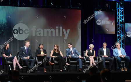 "Stock Image of Executive producers Barbara Adler, on left, and McG, Punam Patel, Paige Spara, Noah Reid, Jordan Hinson, Matt Murray and executive producer Aaron Kaplan participate in the ""Kevin From Work"" panel at the Disney/ABC Summer TCA Tour at the Beverly Hilton Hotel, in Beverly Hills, Calif"