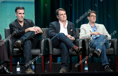Creator/executive producer Todd Harthan, from left, and executive producers Marty Bowen and Wyck Godfrey participate in the 'Rosewood' panel at the Fox Television Critics Association Summer Tour at the Beverly Hilton Hotel, in Beverly Hills, Calif