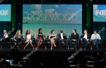 Domenick Lombardozzi, from left, Anna Konkle, Gabrielle Dennis, Lorraine Toussaint, Jaina Lee Ortiz, Morris Chestnut, creator/executive producer Todd Harthan and executive producers Marty Bowen and Wyck Godfrey participate in the 'Rosewood' panel at the Fox Television Critics Association Summer Tour at the Beverly Hilton Hotel, in Beverly Hills, Calif