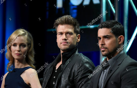 Laura Regan, from left, Nick Zano and Wilmer Valderrama participate in the 'Minority Report' panel at the Fox Television Critics Association Summer Tour at the Beverly Hilton Hotel, in Beverly Hills, Calif