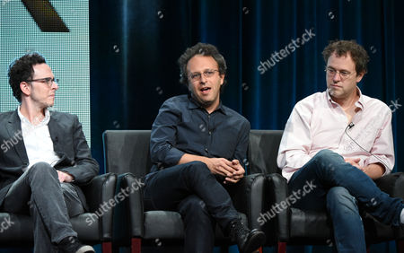Stock Photo of Creator/executive producer Jarrad Paul, from left, executive producer/director Jake Kasdan and executive producer Greg Malins participate in 'The Grinder' panel at the Fox Television Critics Association Summer Tour at the Beverly Hilton Hotel, in Beverly Hills, Calif