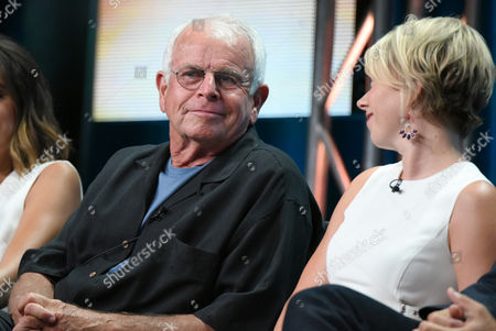 William Devane, left, and Mary Elizabeth Ellis participate in 'The Grinder' panel at the Fox Television Critics Association Summer Tour at the Beverly Hilton Hotel, in Beverly Hills, Calif