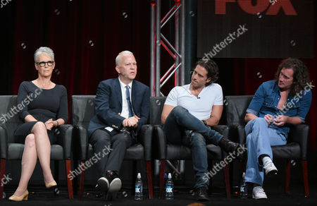 Jamie Lee Curtis from left, and co-creators/executive producers/directors/writers Ryan Murphy, Brad Falchuk and Ian Brennan participate in the 'Scream Queens' panel at the Fox Television Critics Association Summer Tour at the Beverly Hilton Hotel, in Beverly Hills, Calif