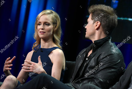 Laura Regan, left, and Nick Zano participate in the 'Minority Report' panel at the Fox Television Critics Association Summer Tour at the Beverly Hilton Hotel, in Beverly Hills, Calif