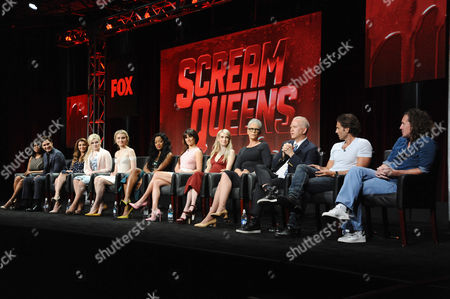 Niecy Nash, from left, Diego Boneta, Nasim Pedrad, Abigail Breslin, Skyler Samuels, Keke Palmer, Lea Michele, Emma Roberts, Jamie Lee Curtis and co-creators/executive producers/directors/writers Ryan Murphy, Brad Falchuk and Ian Brennan participate in the 'Scream Queens' panel at the Fox Television Critics Association Summer Tour at the Beverly Hilton Hotel, in Beverly Hills, Calif