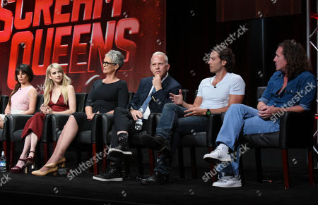 """Lea Michele, from left, Emma Roberts, Jamie Lee Curtis and co-creators/executive producers/directors/writers Ryan Murphy, Brad Falchuk and Ian Brennan participate in the """"Scream Queens"""" panel at the Fox Television Critics Association Summer Tour at the Beverly Hilton Hotel, in Beverly Hills, Calif"""