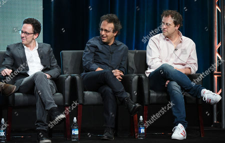 """Stock Picture of Creator/executive producer Jarrad Paul, from left, executive producer/director Jake Kasdan and executive producer Greg Malins participate in """"The Grinder"""" panel at the Fox Television Critics Association Summer Tour at the Beverly Hilton Hotel, in Beverly Hills, Calif"""