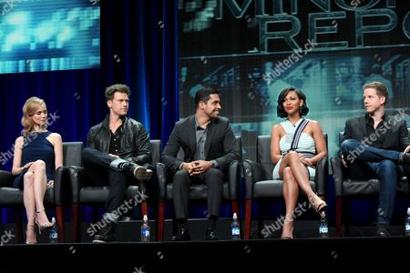 Laura Regan, from left, Nick Zano, Wilmer Valderrama, Meagan Good and Stark Sands participate in the 'Minority Report' panel at the Fox Television Critics Association Summer Tour at the Beverly Hilton Hotel, in Beverly Hills, Calif