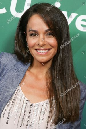 Michele Lepe arrives at the NBCUniversal Television Critics Association Summer Tour at the Beverly Hilton Hotel, in Beverly Hills, Calif