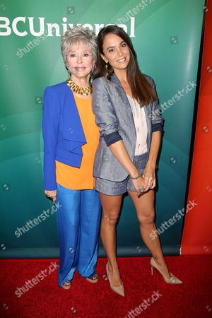 Rita Moreno, left, and Michele Lepe arrive at the NBCUniversal Television Critics Association Summer Tour at the Beverly Hilton Hotel, in Beverly Hills, Calif