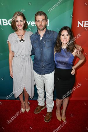 Daisy Betts, from left, Mike Vogel and Yael Stone arrives at the NBCUniversal Television Critics Association Summer Tour at the Beverly Hilton Hotel, in Beverly Hills, Calif
