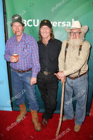 "Mike ""Rooster"" McConaughey, from left, Wayne ""Butch"" Gilliam and Gil Prather arrive at the NBCUniversal Television Critics Association Summer Tour at the Beverly Hilton Hotel, in Beverly Hills, Calif"