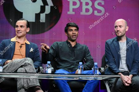 """Actors Henry Lloyd-Hughes, from left, Nikesh Patel and creator/writer Paul Rutman speak onstage during the """"Masterpiece: Indian Summers"""" panel at the PBS 2015 Summer TCA Tour held at the Beverly Hilton Hotel on in Beverly Hills, Calif"""