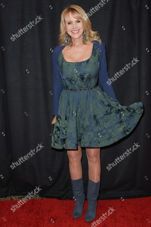 Joan Dangerfield arrives at the 2015 Writers Guild Awards held at the Hyatt Regency Century Plaza, in Los Angeles