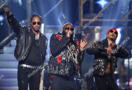"Future, from left, Rick Ross, and August Alsina perform ""Do You Mind"" at the American Music Awards at the Microsoft Theater, in Los Angeles"