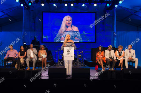 Suzanne de Passe speaks on stage at the 2016 Art For Life Benefit, presented by Russell Simmons' RUSH Philanthropic Arts Foundation, at Fairview Farms,, in Water Mill, New York