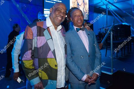 Stock Picture of Danny Simmons, left, and Russell Simmons attend the 2016 Art For Life Benefit, presented by Russell Simmons' RUSH Philanthropic Arts Foundation, at Fairview Farms,, in Water Mill, New York