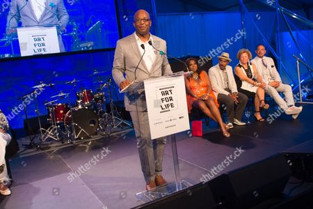 Frank Cooper III speaks on stage at the 2016 Art For Life Benefit, presented by Russell Simmons' RUSH Philanthropic Arts Foundation, at Fairview Farms,, in Water Mill, New York