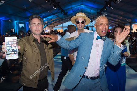 Jason Binn, left, DJ Cassidy, middle, and Russell Simmons attend the 2016 Art For Life Benefit, presented by Russell Simmons' RUSH Philanthropic Arts Foundation, at Fairview Farms,, in Water Mill, New York