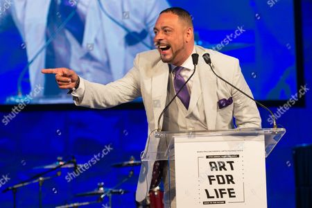 James Cruz speaks on stage at the 2016 Art For Life Benefit, presented by Russell Simmons' RUSH Philanthropic Arts Foundation, at Fairview Farms,, in Water Mill, New York