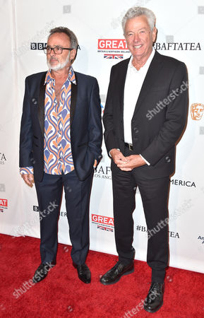 Colin Gibson, left, and John Seale arrive at the BAFTA Awards Season Tea Party at the Four Seasons Hotel, in Los Angeles