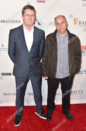Paul Kewley, left, and Mark Burton arrive at the BAFTA Awards Season Tea Party at the Four Seasons Hotel, in Los Angeles
