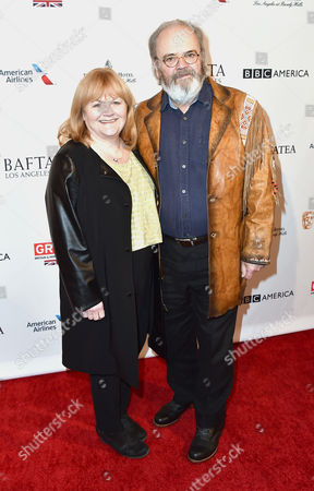 Lesley Nicol, left, and David Keith Heald arrive at the BAFTA Awards Season Tea Party at the Four Seasons Hotel, in Los Angeles