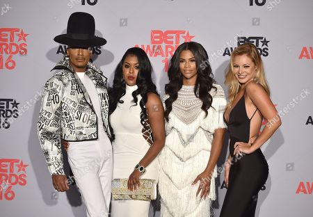 Stephon Mendoza, from left, Eny Oh, Kamie Crawford, and Savannah Lynx pose in the press room at the BET Awards at the Microsoft Theater, in Los Angeles