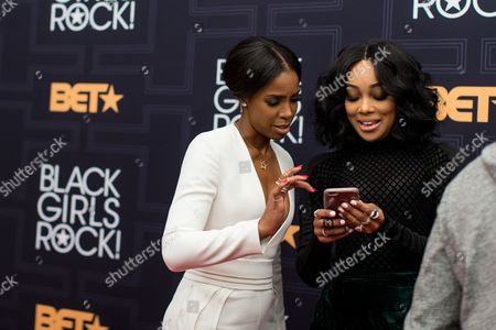 Kelly Rowland, left, and Monica Brown are seen at 2016 Black Girls Rock! at New Jersey Performing Arts Center on Friday, April, 1, 2016 in Newark, NJ