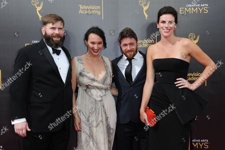 Jacob Bernstein, from left, Carly Mugo, Matt Parker, and Annabelle Dunne, arrive at night two of the Creative Arts Emmy Awards at the Microsoft Theater, in Los Angeles